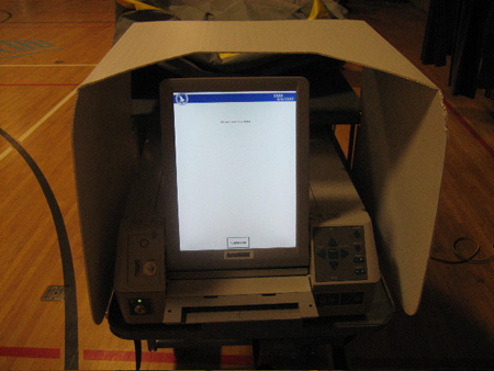 The Optional Electronic Voting Machine Used In Albany. Note The Classy Cardboard Privacy Shield