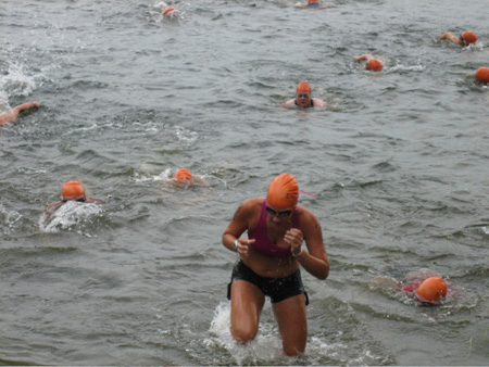 Swimmers Emerging From  Rensselaer Lake, Pine Bush Triathlon