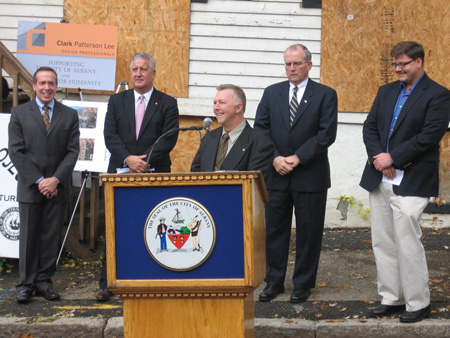 Habitat Executive Director Steve Haggarty At The Podium, From Left Albany Housing Authority Director Steve Longo, Mayor Jennings, Albany County Executive Mike Breslin, Habitat Board President Brian Osterhout