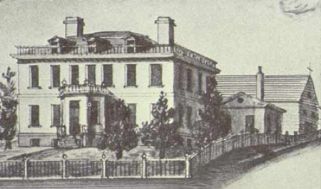 Schuyler Mansion In 1818, Note The Barn And Cookhouse In Back
