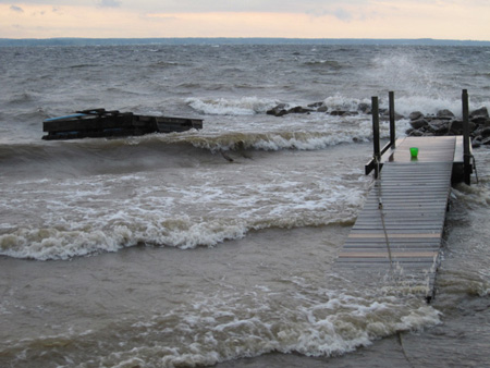 Docks Tossed By Waves On Great Sacandaga, 2011