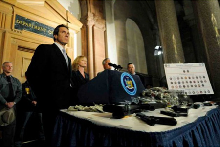 Gubernatorial Candidate Andrew Cuomo At The Capital In 2010 Taking Credit For a Gun And Drug Bust In Downtown Albany