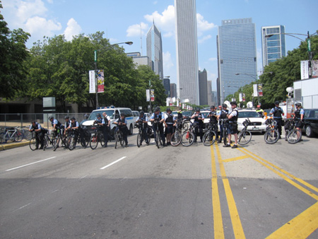 Critical Mass: Chicago Bicycle Cops Assembled In Front
