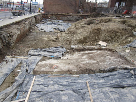Excavations For Housing At The Historic Knitting Factory Block, Which Was Demolished In The Middle Of The Night In 2007.  Mound At Upper Right May Contain Artifacts Of Albany's Oldest African-American Church From 200 Years Ago