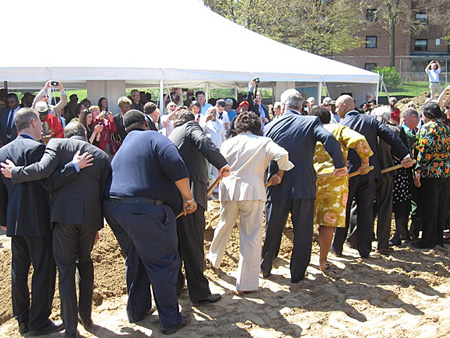 "Albany Politicians Agitate The Mound Of Dirt At The ""Groundbreaking"" For The New Capital South Campus Center, May 2, 2013"