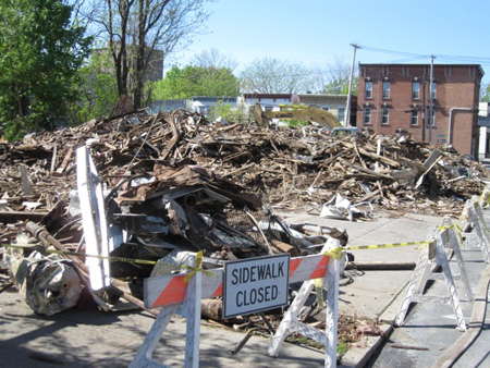 Feeding Frenzy: Day After A City Crew Demolished An Entire Block Of Buildings On Lexington Avenue In Arbor Hill, May 7