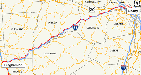 Route 7 (Red Line, Close To Interstate 88) Albany To Binghamton, 133 Miles