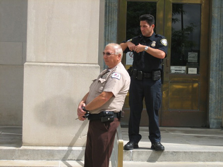 Cops On The Binghamton Courthouse Steps Watch The Press Conference