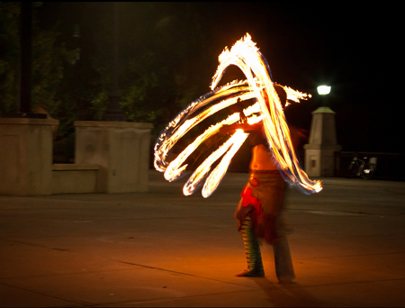 Firedancer At The Weekly Tuesday Night Spinjam At The Albany Waterfront Amphitheater