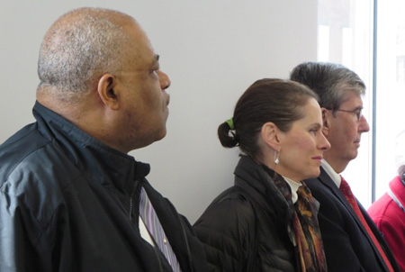 Pastor Traynham Of Victory Church, Assembly Member Pat Fahy And Senator Neil Breslin Listen To The Speakers