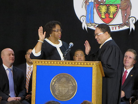 Common Council President Carolyn McLaughlin Sworn In By Judge Randolph Treece