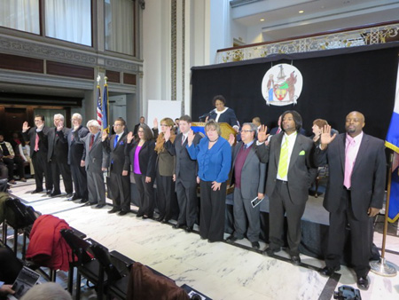 12 Of The Common Council Members Being Sworn In, 3 More Off Camera To The Right