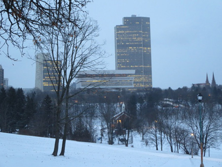 State Buildings Above The Bath House, Lincoln Park, January, Snow, Dawn