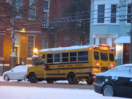 Schoolbus Picking Up Kids, My Neighborhood, January, Snow, Dawn