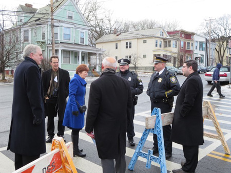 Treasurer Darius Shahinfar, The Mayor's Communications Director Dennis Gaffney, Congressman Paul Tonko and The Mayor's Chief Of Staff Matt Peter Talk To The Cops On Morton Avenue