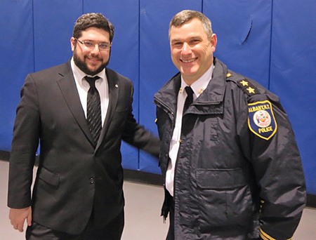 New Police Chief Brendan Cox With The Mayor's Chief Of Staff Matt Peter At Mr. Krokoff's Sendoff