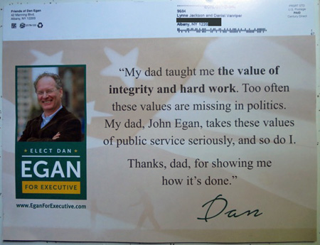 Recent Postal Mailing From Dan Egan, Arrived Father's Day Weekend