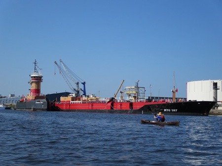 Oil Barge Waiting To Load At The Port Of Albany