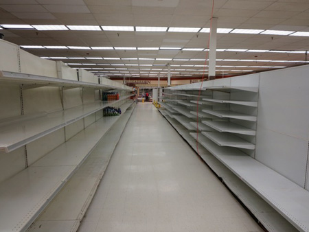 Empty Shelves At A Local Supermarket