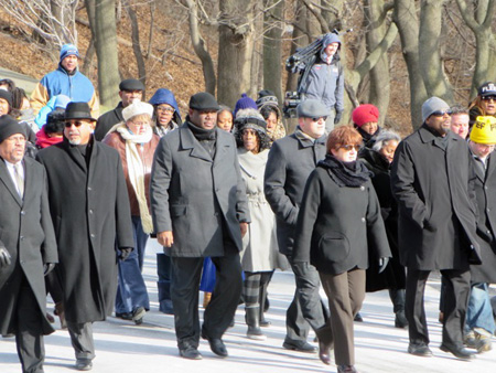 Albany Mayor Kathy Sheehan (Red Hair And Shades) Leads A Wave Of Very Cold Marchers Through Lincoln Park On MLK Day