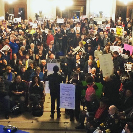Black Lives Matter Protest At City Hall, State Of The City, View From The Balcony (click photo for larger)