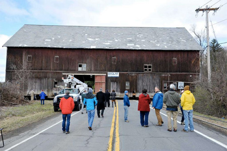 Moving The Hilton Barn Across The Road Last March