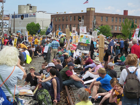 Protest Against The Fracked Bakken Oil Trains At The Port Of Albany Last May
