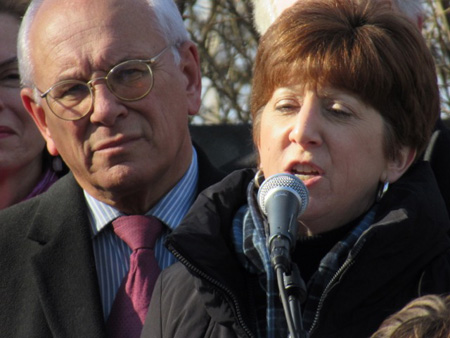 Congressman Paul Tonko listens as Albany Mayor Kathy Sheehan Speaks