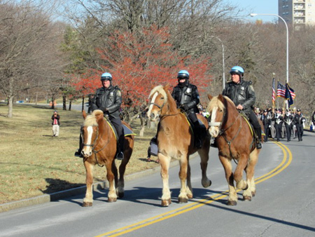 The City Of Albany Cops On Horses Lead The March