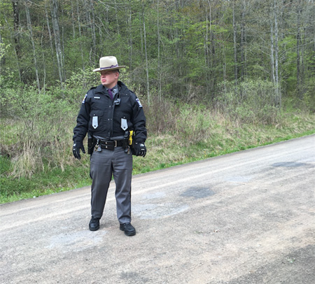 NY State Trooper Surveys The Road While Waiting For The Knuckleheads