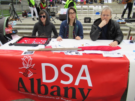 Democratic Socialists Of America Contemplating Some Weirdo With A Camera Approaching Their Table, Earth Day Science March, Albany NY