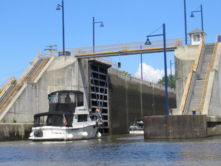 Pleasure Craft Heading Into Erie Canal Lock E-2