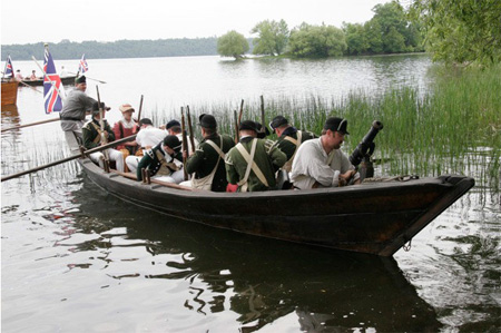 Reenactors Use A Bateaux Boat On The Mohawk River Near Little Falls