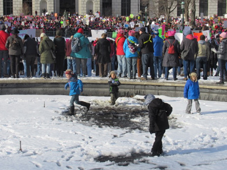 Kids Playing In An Icy Muck Puddle
