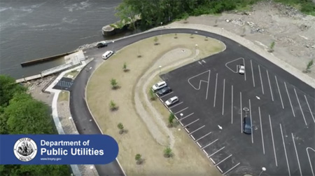 Aerial Drone View Of The Ingalls Avenue Boat Launch